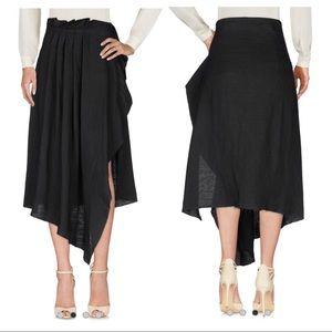 Isabel Benenato Asymmetric Linen Midi Skirt